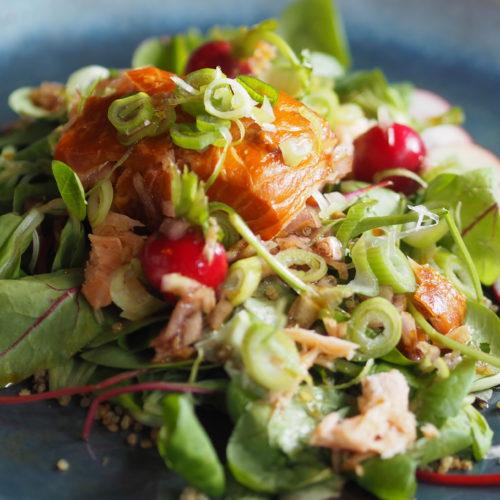 warmgerookte zalm superfood salade aziatisch met avocado, radijs, tomaat, quinoa