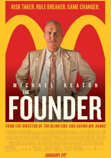 de poster van de founder film (van mcdonald's) met een grote gele M op de achtergrond